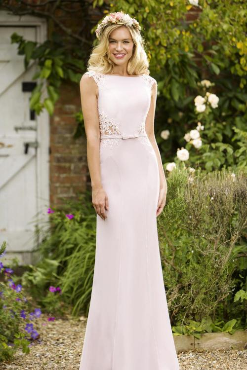 Vintage Inspired Long Dusty Chiffon Slim Bridesmaid Dress Formal Wedding