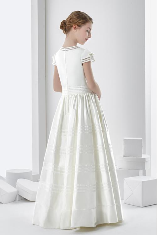 Ball Gown Short Sleeve Bow(s) Floor-length Satin Communion Dress