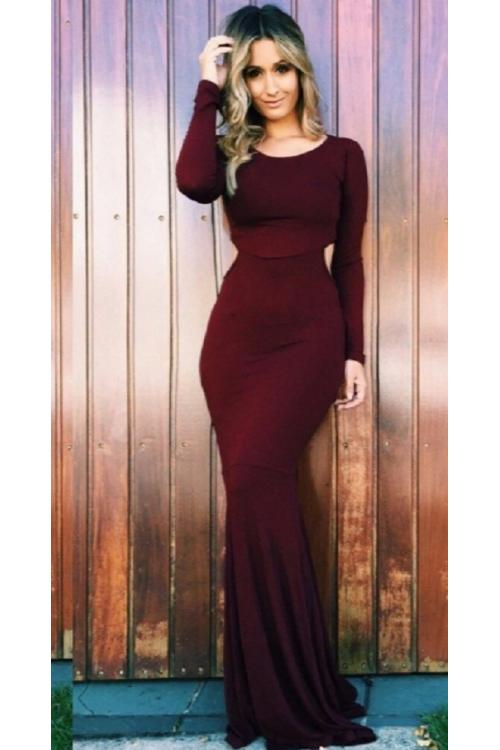Chic Long Sleeve Side Cut Out Long Chocolate Jersey Prom Dress