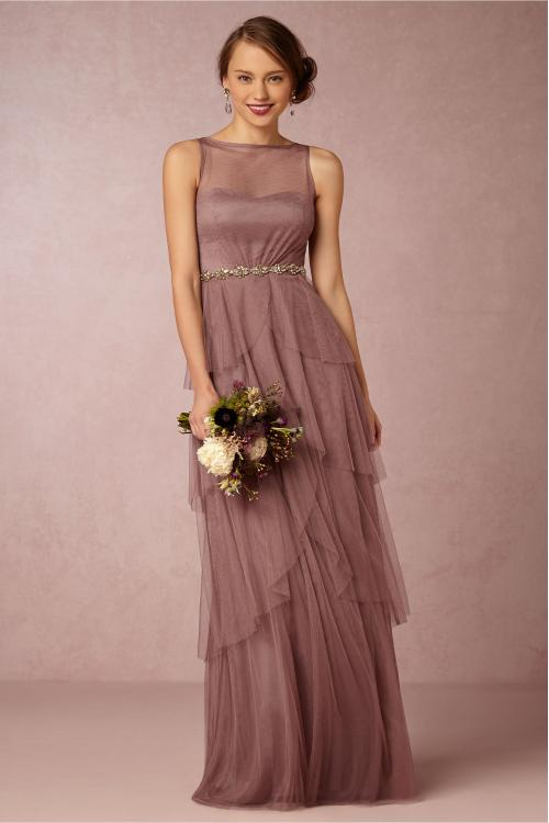 Sleeveless Illusion Bateau Neck A-line Tiered Tulle Bridesmaid Dress with Crystal Ribbon