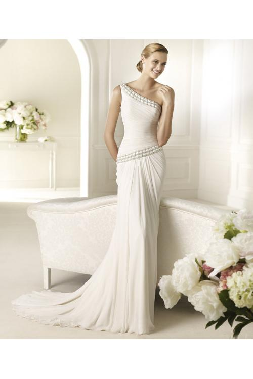 Elegant Sheath/Column One Shoulder Beading Sweep/Brush Train Chiffon Wedding Dresses