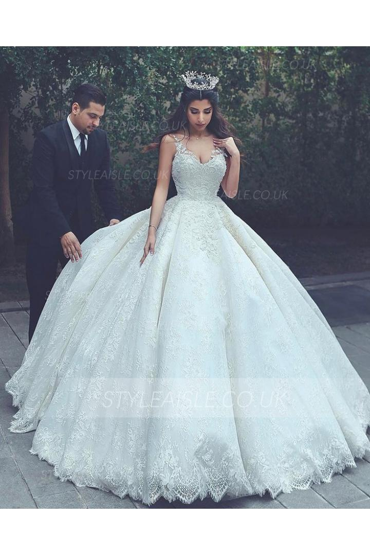 Luxury Lace Embroidery Ball Gown Ivory Wedding Dress