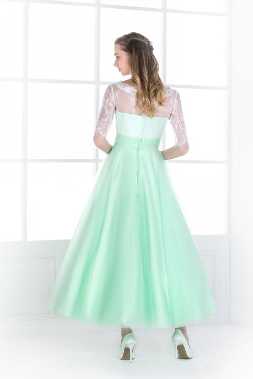 Half Sleeved Lace Bodice A-line Mint Green Tulle Bridesmaid Dress