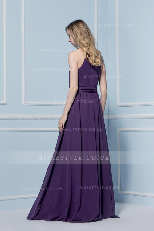 Halter Neck Purple Chiffon Sleeveless Bridesmaid Dress with Sash