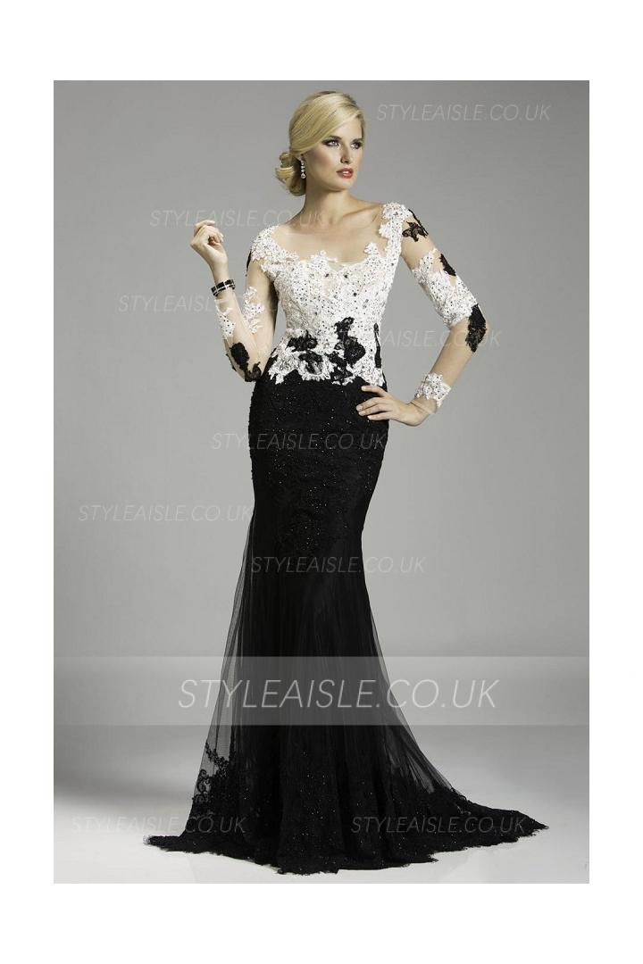 Vintage Inspired Illusion Neck White Lace Sheath Tulle Prom Dress