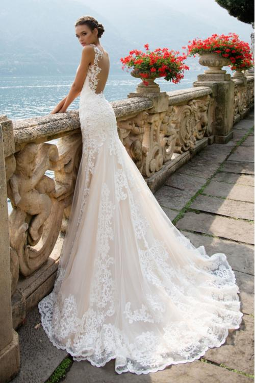 Chic Vintage Lace Appliques Long Mermaid Wedding Dress with transparent tulle on back