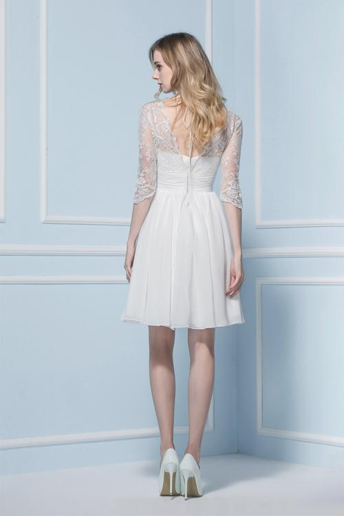 A-line V-neck 3/4 Length Sleeve Lace Knee-length Wedding Dresses