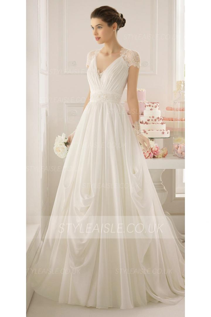 V Back Lace Wedding Dress Uk 84