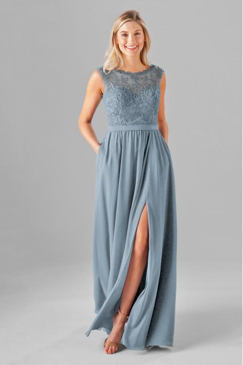 Long Bateau Neck High Split A-line Chiffon Bridesmaid Dress with Ribbon