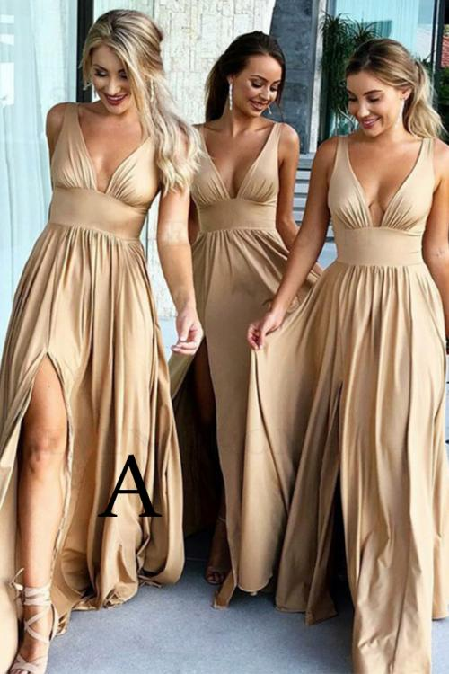 A-line V-neck Sleeveless Split Sweep/Brush Train Long Chiffon Bridesmaid Dress with 5 Styles(A/B/C/E/F)