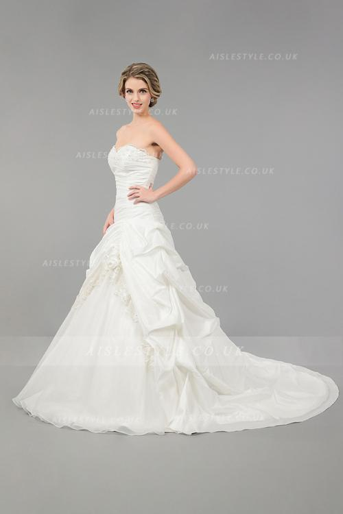 Classical Ball Gown Lace Taffeta Wedding Dress with Flowers