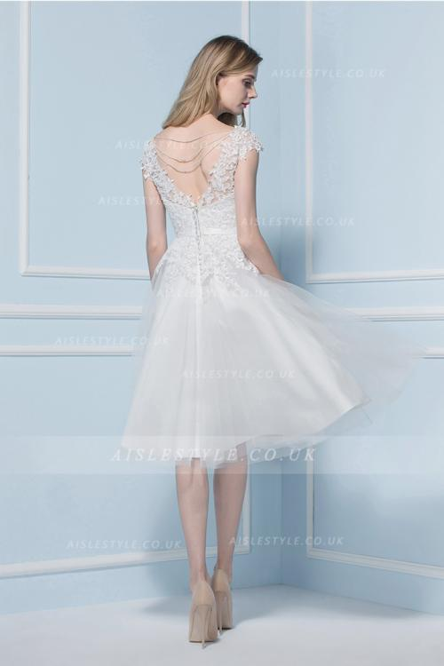 V Neck Lace Bodice Tea Length A-line Lace Bodice Short Tulle Wedding Dress with Sequinned Back