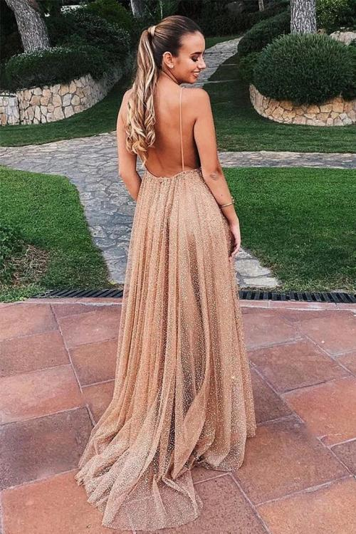 Shiny A-line Deep V-neck Sleeveless Sequins Floor-length Long Prom Dress