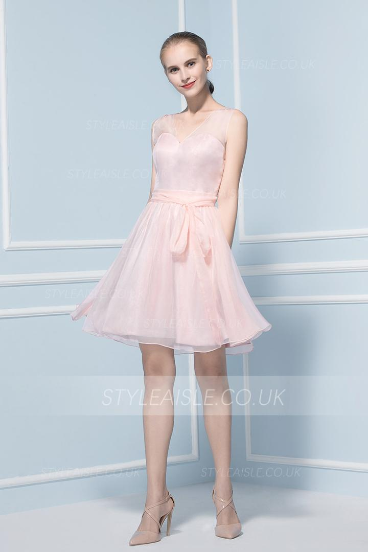 Sleeveless V Neck Knee Length Chiffon Bridesmaid Dress
