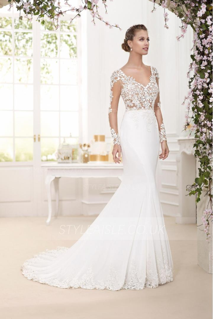 Sophisticate Lace Top Long Trumpet Chiffon Wedding Dress with Long Sleeves