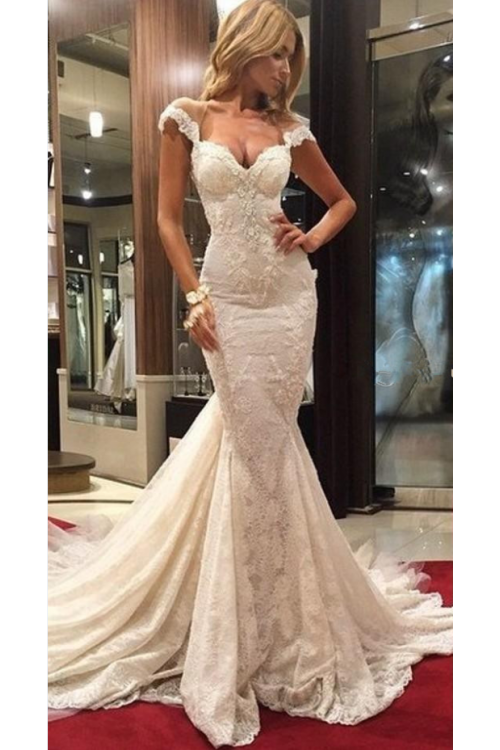 Vintage Sexy Lace Cap Sleeve Mermaid Long Wedding Dress