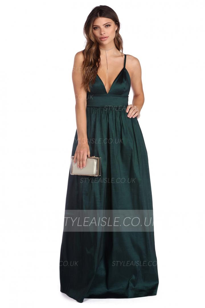 Long Spaghetti Straps A-line Sexy Backless Prom Dress