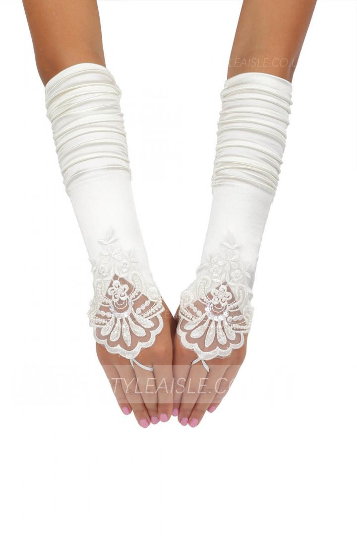 Long Ivory Fold Embroidered Wedding Gloves With Sequins and Pearls 8BL