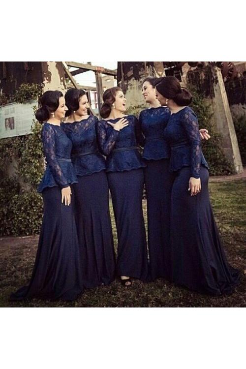 Modest Long Sleeved Lace Bodice Peplum Navy Chiffon Bridesmaid Dress