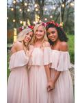 Simple Off Shoulder Blush Pink Long Bridesmaid Dress