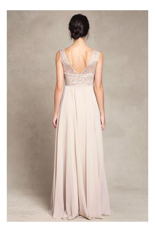 Gorgeous Sleeveless Bateau Neck Lace Bodice Long Chiffon Bridesmaid Dress