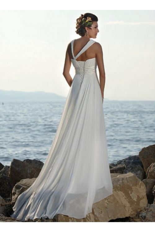 Empire Shoulder Straps Ruched Long A-line Chiffon Beach Wedding Dress with Ribbon