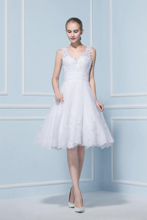 V Neck Sleeveless Short Lace Patterns Wedding Dress