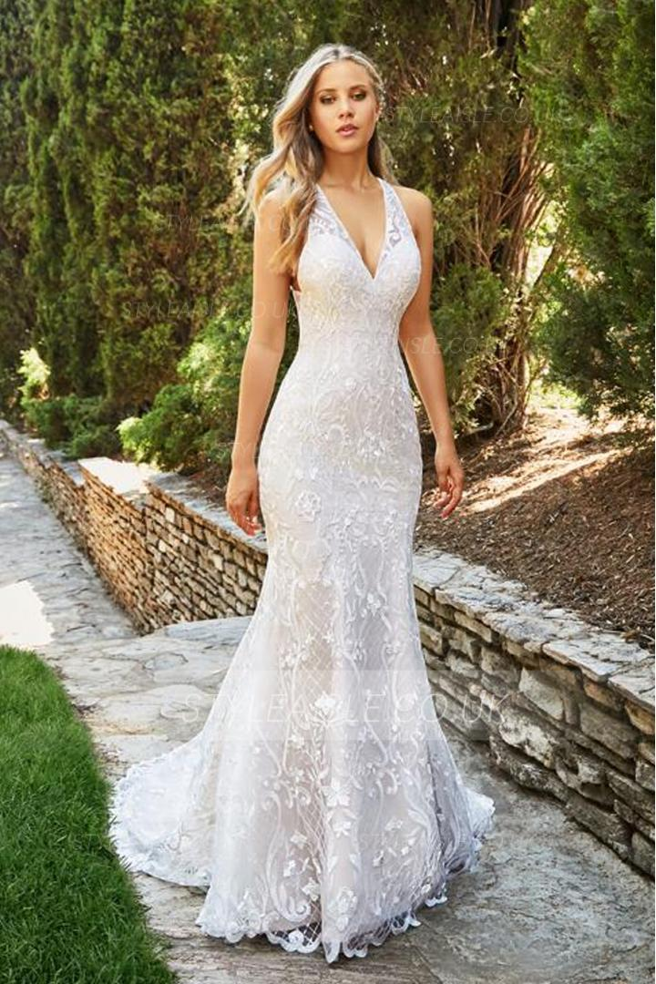 Fit And Flare Wedding Dress.Sexy Backless V Neck Lace Patterns Long Fit Flared White Tulle Wedding Dress