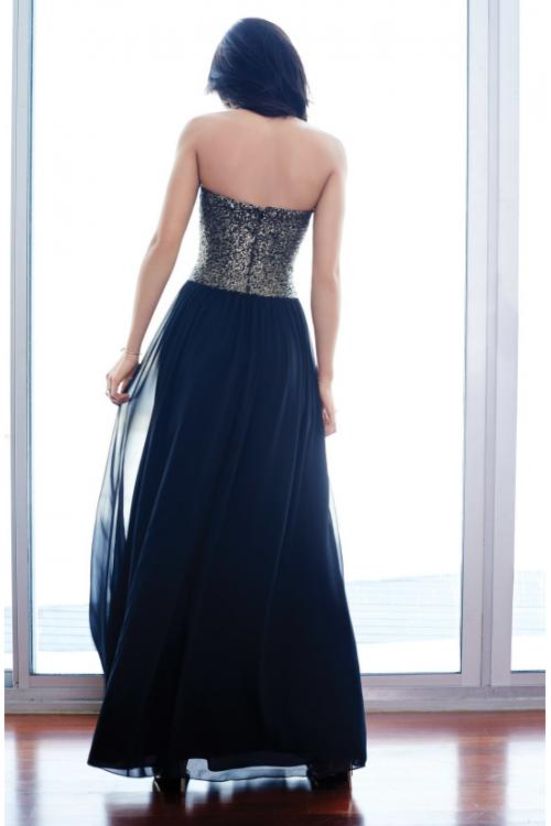 Sparkly Sequins Long A-line Navy Blue Chiffon Prom Dress