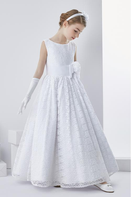 Ball Gown Sleeveless Floor-length Lace Fabric Communion Dress with Hand Made Flowers