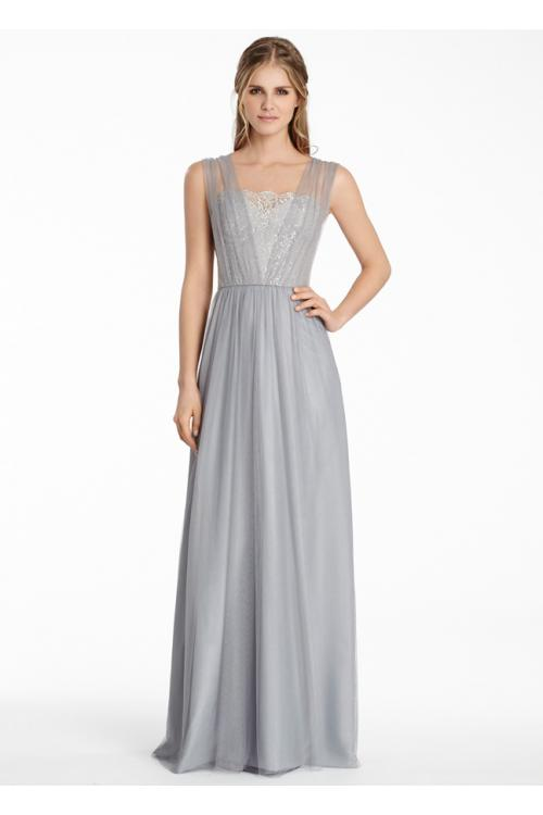 Illusion Shoulder Beaded Bodice Long Tulle Bridesmaid Dress