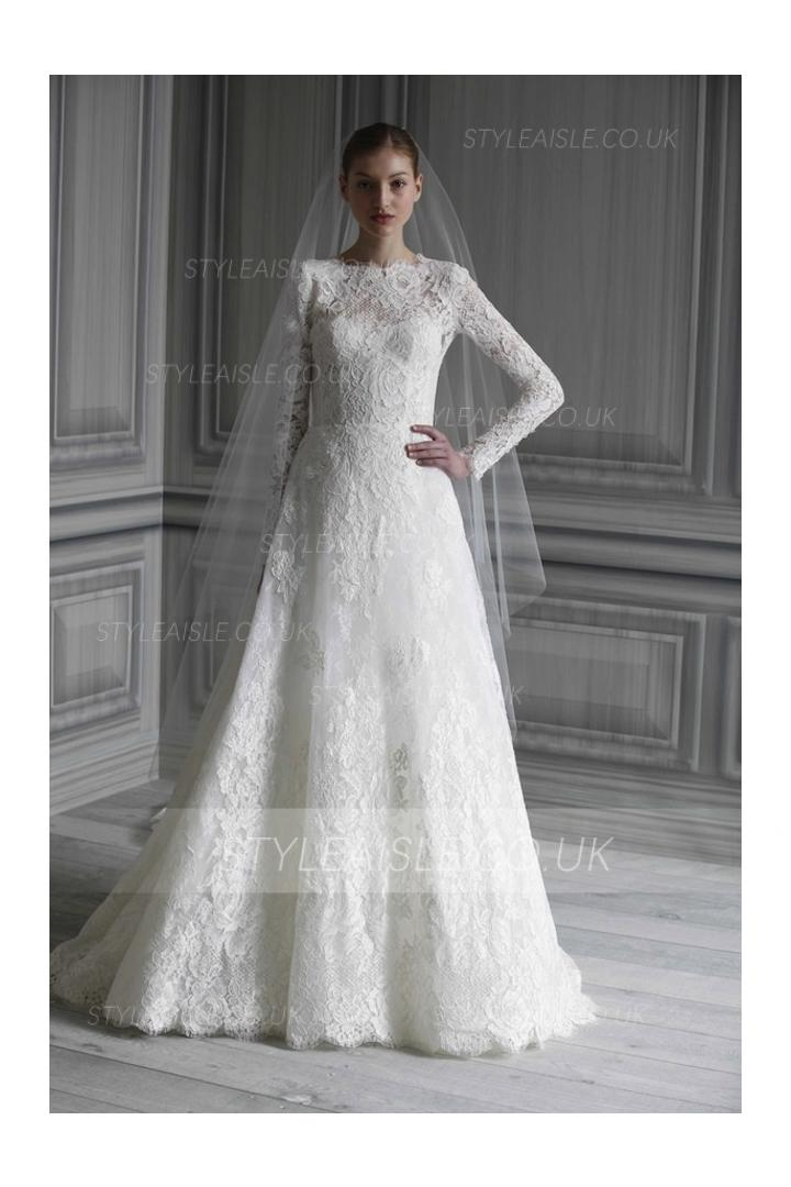 High neck lace ball gown wedding dress for High neck wedding dresses