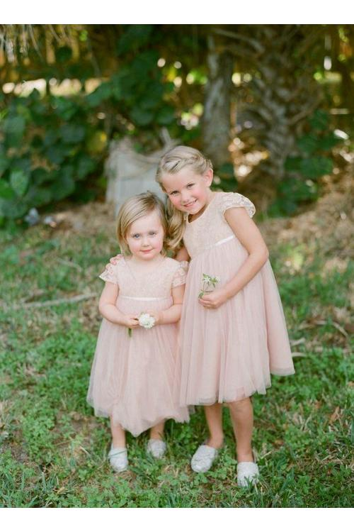 Delicate Blush Knee Length Short Sleeve Long A-line Tulle Flower Girl Dress
