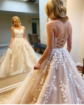 Elegant A-line Sleeveless Lace Appliques Floor-length Long Tulle Prom Dress