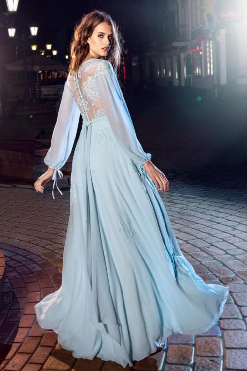 A-line V-neck Long Sleeves Lace Bodice Sashes/Ribbons Floor-length Long Chiffon Prom Dresses with Buttons Back