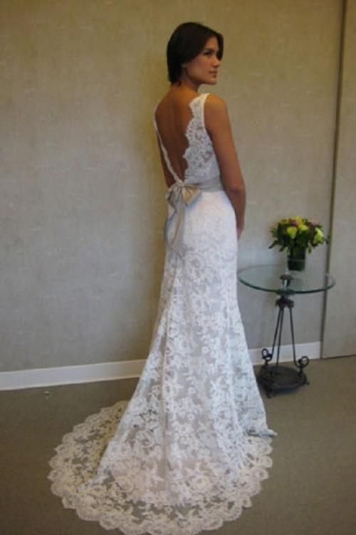 V Back Illusion Neck Sleeveless Sheath Lace Patterns Wedding Dress with Sash