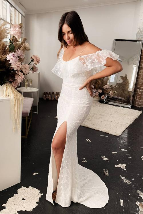 Mermaid Off-the-shoulder Lace Sweep Train Long Wedding Dresses