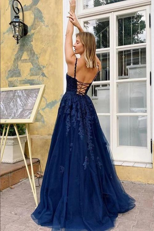 Spaghetti Straps Sleeveless Lace Appliques Floor length Long Tulle Prom Dresses