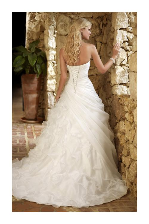 ca77a05b462 ... Charming A-line Sweetheart Beading Sequins Cascading Ruffles Ruching  Sweep Brush Train Organza Wedding Dresses