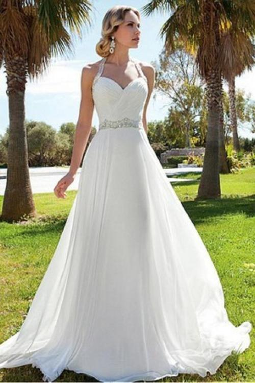 Halter Neck Beading Long A-line Chiffon Wedding Dress