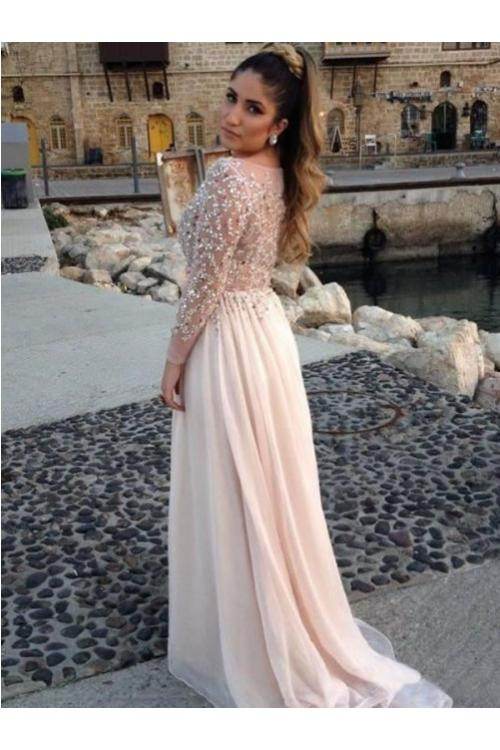 Sparkle Beaded Bodice Long Sleeved Column Chiffon Prom Dress