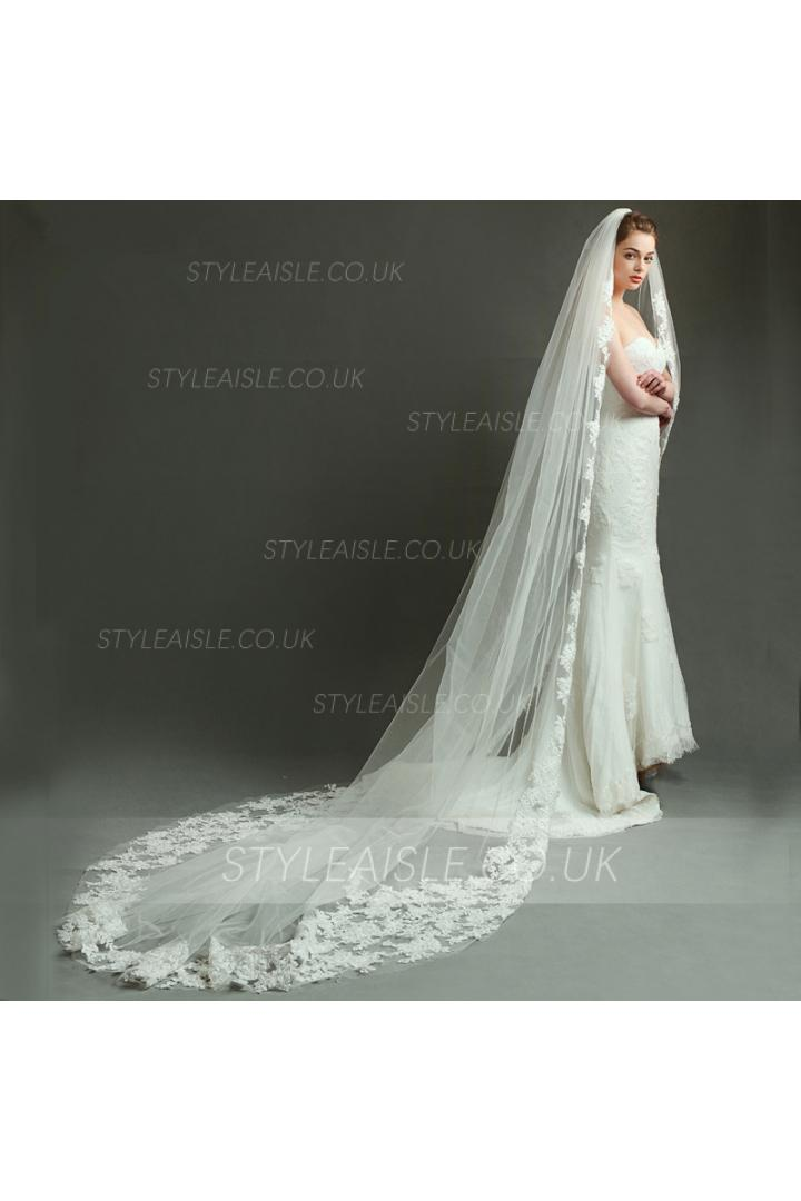 Sparkle Beaded Lace Long Train Wedding Veil Wedding Accessory