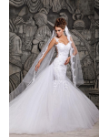 Mermaid Shoulder Straps Sleeveless Appliques Lace Long Tulle Wedding Dresses