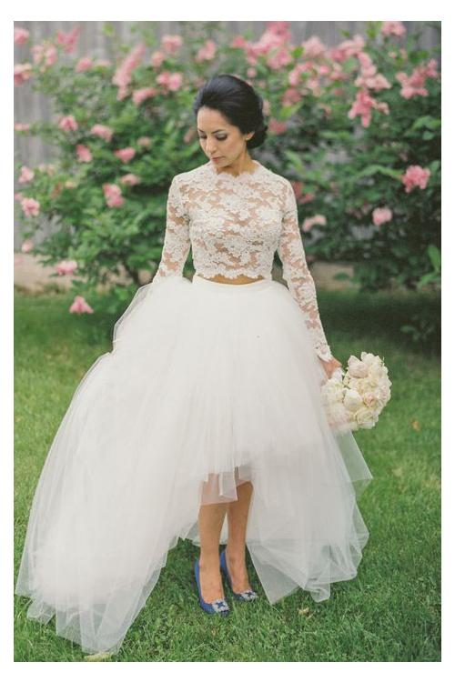 Two Piece Lace Long Sleeve Ball Gown Tulle High Low Wedding Dress