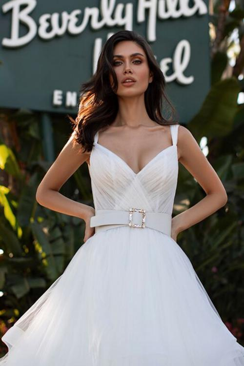 Ball Gown Shoulder Straps Sleeveless Sweep/Brush Train Long Tulle Wedding Dresses with Sash