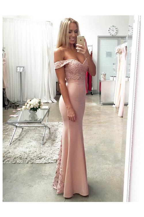 off-the-shoulder Lace Bodice Bodyhugging Long Jersey Evening Dress