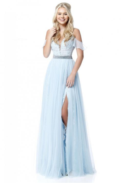 Modern Off Shoulder Long A-line Slit Prom Dress Beaded Waist
