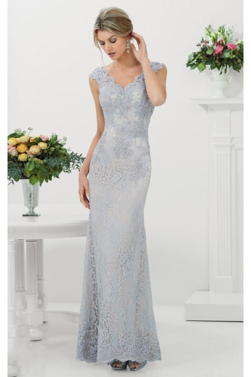V Neckline Sleeveless Pearl Detailing floor-length lacy looks Evening Dresses