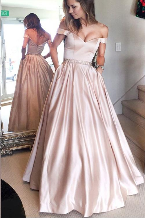 Elegant Off Shoulder Beading Long A-line Blushing Pink Prom Dress
