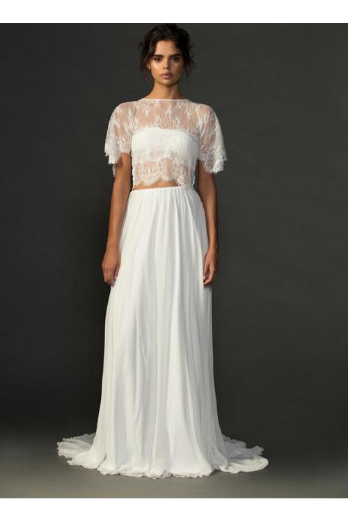 Boho Two Piece Jewel Neck Lace Top A-line Chiffon Wedding Dress